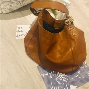 JUICY COUTURE leather hobo bag in cognac w/ gold